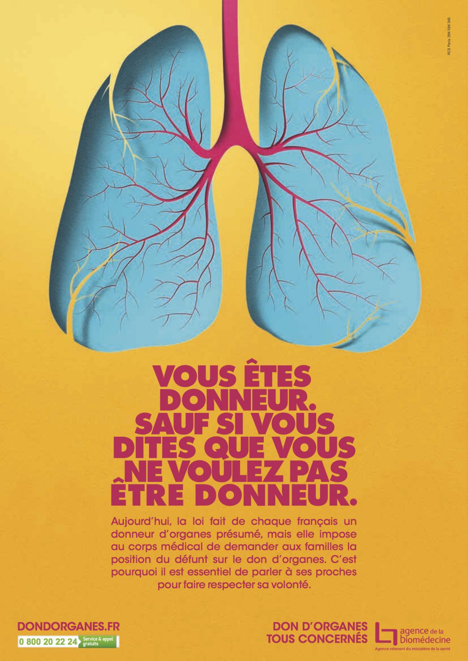 Affiche 2016 - Don d'organes - Poumon