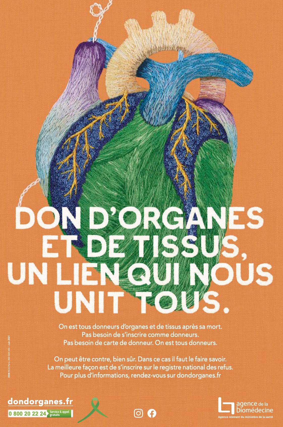 Affiche cœur brodé  – Don d'organes et de tissus, un lien qui nous unit tous