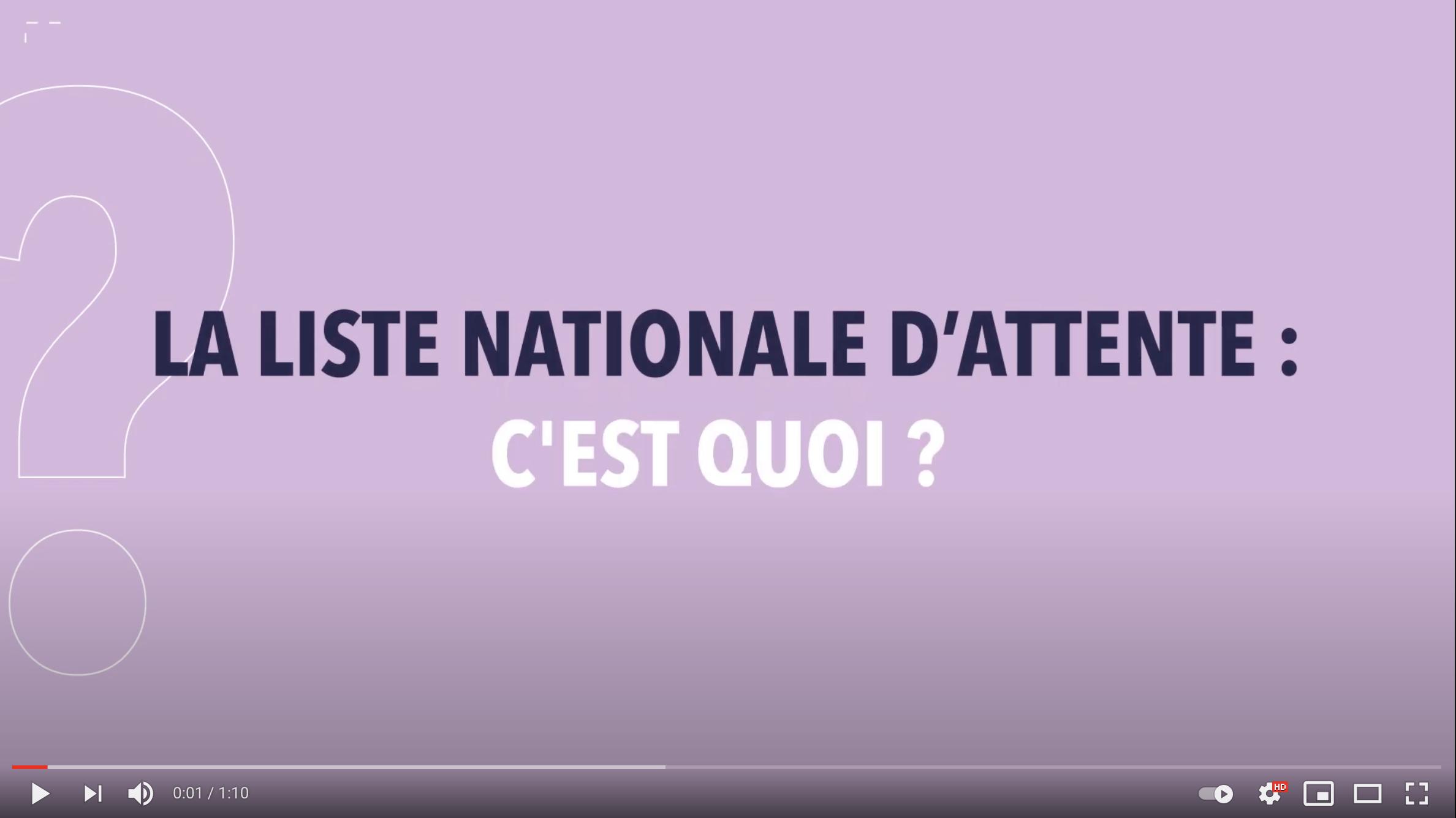 Vidéo – La liste nationale d'attente.